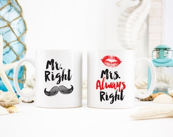 Mr Mrs Mr Right Mug Mrs always right Mug Husband Wife - Gift For Her Him Friend Family Birthday Gift Unique Coffee Mugs Tea Cups - - 0065