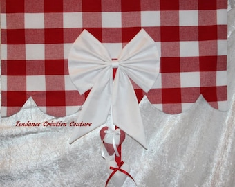 Red gingham cotton tier curtain