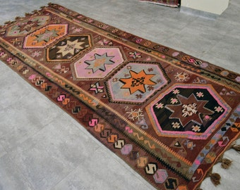 "Anatolia Turkish Kilim Runner rug 4'4"" x 11'8"" Hand Woven Flat Weave Natural Wool boho Kars Large Runner 53"" x 142"""