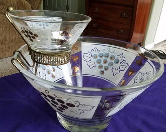 1950's Chip and Dip bowl with bracket. Made by Hazel Atlas white and gold with grapes and leaf pattern.