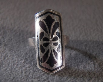Vintage Sterling Silver Multi shaped Jet Black Enameled Art Deco Style Band Ring, Size 6       **RL