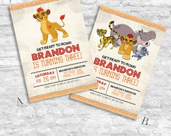 The Lion Guard Birthday Invitation, The Lion Guard Invitation, The Lion King Birthday Invitation, Kion Birthday Invitation, The Lion Guard