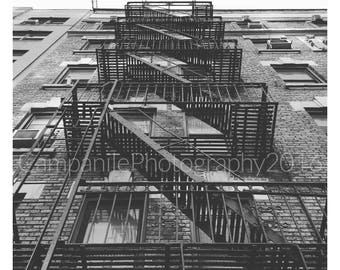 New York City Fire Escape, Black & White Photography