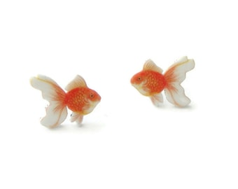 Goldfish earrings, fish studs,
