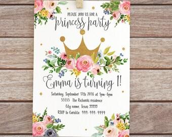Printable princess birthday invitation, Floral digital invite, baby girl invitation, First birthday invite, Gold floral crown invitation  27