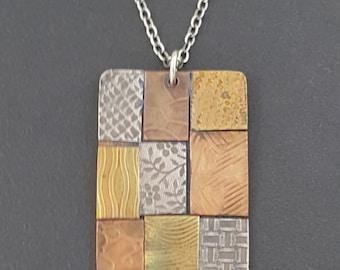 Mixed Metal Necklace, mixed metals, copper brass silver, multi metal necklace, mixed metal jewelry, michele grady, mixed metal, copper