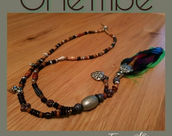 Bohemian festival single feather necklace