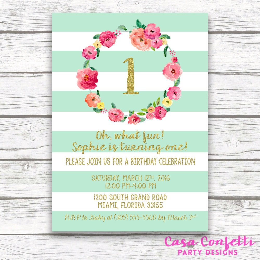 Aqua First Birthday Invitation, Girl First 1st Birthday Invitation ...