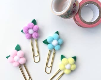 Set of 4 Floral Planner Clip bookmarks -  Planner Paperclips- Journaling Bible Tabs - Planner Accessory - Planner Clips -Pastel Colors