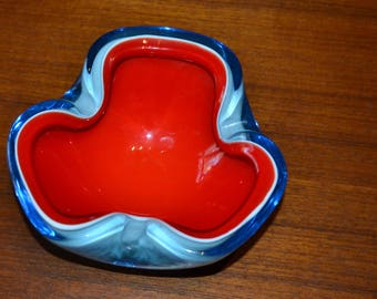 Vintage 70s Sommerso Seguso ashtray light Blue
