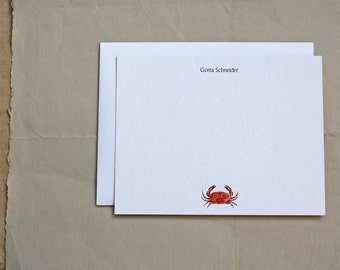 Orange Crab Sealife Shellfish Custom Notecard Stationery. Thank You, Any Occasion, Personalize Watercolor Print, Set of 10.
