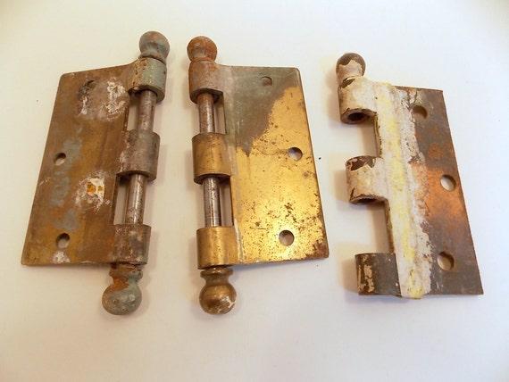 Vintage Hardware Door Hinges - 3 Heavy Duty Brass Hinge Halves - Antique  Brass Hinges - Gate Hinge, Door Hinge - Vintage Home Decor from findergirls  on Etsy ... - Vintage Hardware Door Hinges - 3 Heavy Duty Brass Hinge Halves