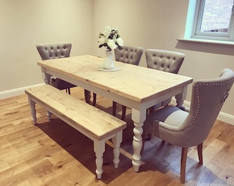 6ft Farmhouse Dining Table With Reclaimed Wood Top And Bench Fabric 4 Chairs Light