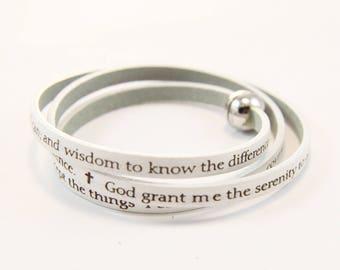 Serentiy Prayer Bracelet, Leather Prayer Bracelet, Inspirational Jewelry, Friendship Bracelet, Sobriety, Encouragement