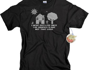 Father's Day Gifts - Funny Tshirts - Geek Gift - Video Game Shirt - I Went Outside Once TShirt - Mens Shirts
