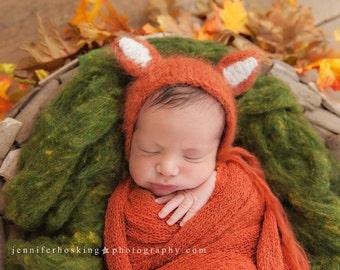 Handknit Fox Bonnet- Newborn Photography Prop