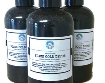 Black Gold Detox Liquid Soap And Body Wash Vegan Detergent Free Unscented