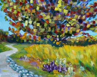 New England Painting - Small Abstract Oil -  Landscape Fall - Tree Painting - Modern Art Painting - Autumn Tree
