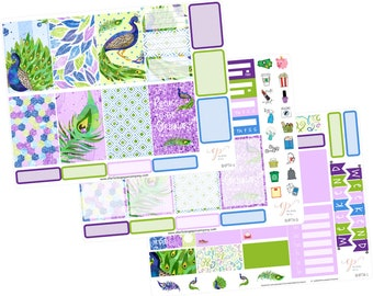 Big Happy Planner Stickers / Peacock Stickers / Planner Stickers / Purple Planner Stickers / Weekly Sticker Kit / BHP74