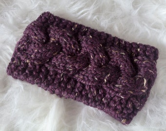 Raisin Braided Cable Ear Warmer Headband