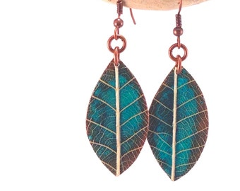 Spring Leaves - Handmade Turquoise Copper Earrings with Real Leaf Veins