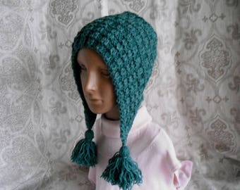 Knit Hat. tassel hat. Aviator Adult Bonnet. Hood with Ties. Womens Winter Hat. wool mix.winter accessory.