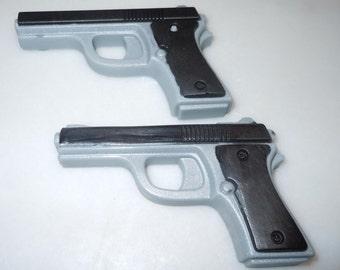 2 Pistol Soaps Black/Gray - SQUEAKY CLEAN SCENT - Vegan guest bath decorative gun rifle shoot bullet
