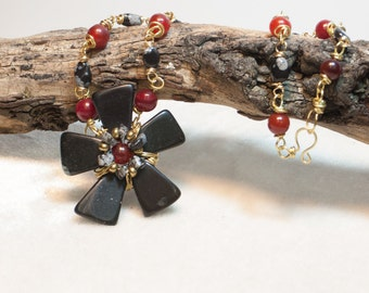 Red Jade and Snowflake Jasper Necklace with Wired Black Stone Flower Pendant on Brass Wire - Snow at Sunset - Art Necklace