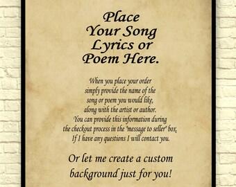 Custom Poem Art Print, Song Lyrics Art Print, Poem Art Print, Song Lyrics, Custom Art Print,  Custom Gift, Wedding Gift, Anniversary Gift.