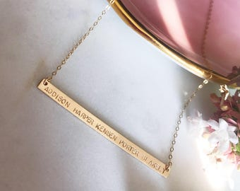 Mom Necklace With Kids Names, Hand Stamped Jewelry, Bar Necklace Personalized,  Name Necklace, Gold Multi Name Necklace, Gift for Women