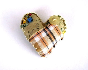 Puff Heart Patchwork Pin FREE US Shipping