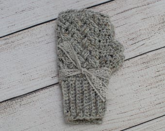 Crocheted Gray with Multi-Flecks of Other Colors Hand Warmers / Fingerless Gloves /Mitts, Fits Most Teens and Adults