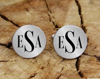 Engraved initials cuff links, engraved monogram, engraved cufflinks, custom personalized cufflinks tie clip set, engraved wedding cufflinks