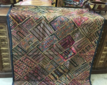 Antique Vintage Original Patchwork Tapestry Mirror Embroidered Design Hand Crafted RUG Wall Hanging Decor FREE SHIP