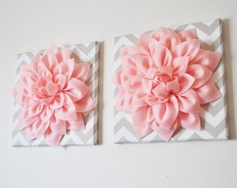 """TWO Wall Flowers -Light Pink Dahlia on Taupe and White Chevron 12 x12"""" Canvas Wall Art- Baby Nursery Wall Decor-"""