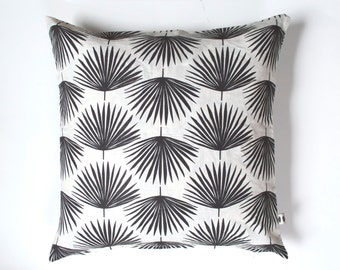 Charcoal Palm Leaves Pillow