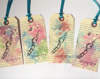 Butterfly Gift Tags, Set of 4, Inspire, Inspirational Labels