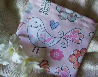 """Eco Friendly Bag, Fabric Baggie, Reusable Snack Bag, Reusable Sandwich Bag, Fabric Pouch, Party Favor, """"Cute Little Birds!"""""""