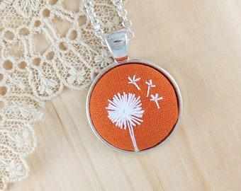 Orange Dandelion Hand Embroidered Necklace, Floral Necklace, Dandelion Pendant, White Wishing Flower, Dandelion Embroidery