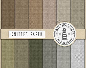 NEUTRAL KNITS, Knitted Digital Paper, Knit Papers In Neutral Shades, Knitted Background, Knit Textured Paper, Cotton Backgrounds, BUY5FOR8