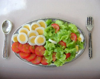 Dollshouse food 12th scale, salades platter, miniatures food