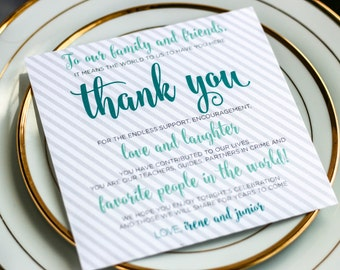 """Teal and Aqua, Striped Wedding Table Sign, Wedding Thank Yous, Stationery - """"Calligraphy Chic"""" Reception Thank You Sign 5.25x5.25 - DEPOSIT"""