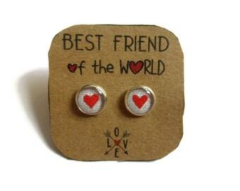 Girl earrings - Best Friends Heart Stud earrings - best friend birthday - Friendship studs for Toddlers - Best Friends Forever - bff