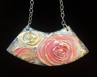 Hand painted fine art bib apron pendant necklace on sterling silver chain - rose necklace - Original acrylic and plaster art on wood pendant