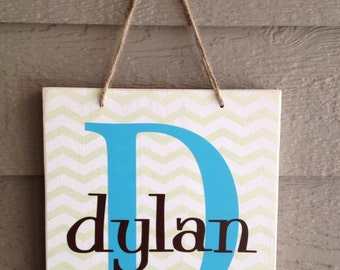 child name sign, personalized chevron sign, child name board, wall hanging personalize gift home gallery wall decor