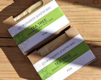 All Natural Tea Tree Shampoo and Body Bar, Herbal Bath Bar, Soothing, Moisture Loving, Palm Free