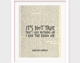 Funny Quote Poster, Marylin Monroe Quote, Printable Wall Decor, It's not true I had nothing on... I had the radio on, Instant Download Art