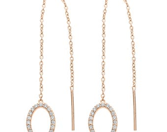 Silver Chain Drop Threader Earring-Oval