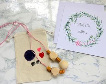 Mummy Box Collier perles de bois - Pour les mamans - Fête des mères -Collier perles bois -Box pour maman -Pour maman -Box cadeau -Rose -Bois