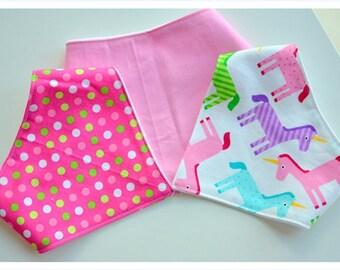 Baby Bandana Bibs - set of 3 Bandana Bibs for Girls - Drool Bibs - Teething Bibs- Dribble Bibs